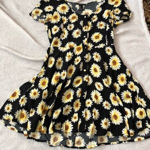 Black sunflower button up dress